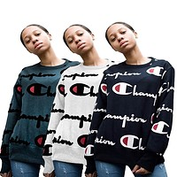 """Champion"" Round Neck Top Pullover Sweater Sweatshirt"