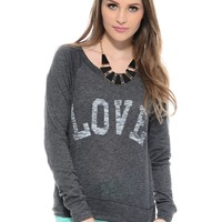 Charcoal Love Fool long Sleeve Graphic Top   $10   Cheap Trendy Tees Chic Discount Fashion for Wome