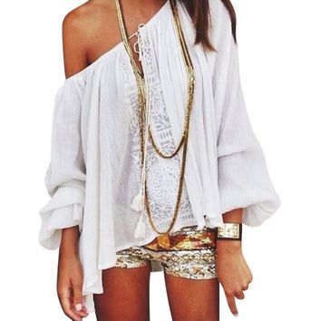2017 Summer Women Boho Loose Tops Off Shoulder Long Sleeve  Sexy White Shirt Lace Blouse