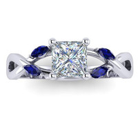 Moissanite Engagement Ring Natural Blue Sapphires Leaves Marquise Engagement Ring 14K White Gold Princess Cut Moissanite Ring RE00160S