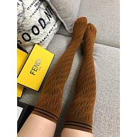 FENDI FF letters female khaki stockings