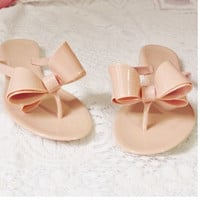 Bohemian bow sandals slippers sandals nude color sandals = 1928432964