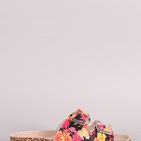Bamboo Floral Double Buckle Cork Footbed Sandal
