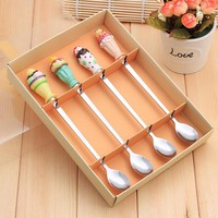 Stainless Steel Coffee Spoon Long Ice Cream Spoon Four Sets Cartoon Resin Events Wedding Gifts Tableware For Couples Children