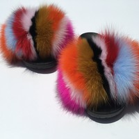 Multi color fox fur slides women's fur slippers