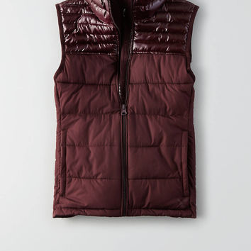 AEO Quilted Vest, Burgundy