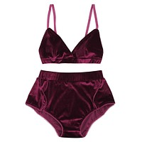 Women Velvet Bra Set Underwear Adjustable Straps Bralette Panties Trim Bra Sets High Waist Lace Push Up Bra Briefs Panties F4