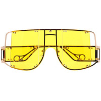 Premium High Fashion Rimless 5-Panel Color Lens Shield Sunglasses D095