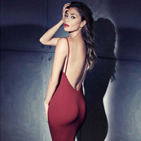 Sexy Slim Slim Fit Backless Package Hip Spagehetti Strap Erotic One Piece Dress _ 3440