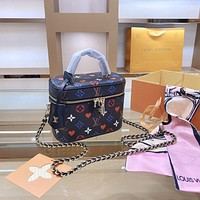 LV Monogram colorful print canvas cosmetic bag handbag shoulder bag