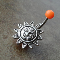 Orange Celestial Sun Belly Button Ring Jewelry by CuteBellyRings