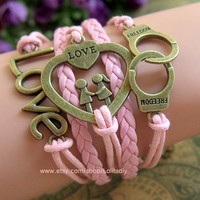 Ancient bronze love couples handcuffs, wax rope braided leather cord bracelet, presents the best girl