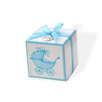 10 Blue Baby Carriage Favor Boxes with Thank You Baby Bib Charms & Ribbons
