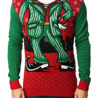 Ugly Christmas Sweater Men's Pimp Elf Pullover Sweater