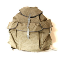 NEW OLD STOCK 1956 Swiss Army Backpack, Lighter Style Rucksack, Military Leather Canvas Bag, 'Salt & Pepper', Large Fishing Hiking Rucksack