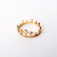 Gold and Rhinestone Crown Ring