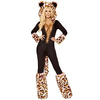 Sexy Fantastic Beasts Leopard Faux Fur Black Catsuit