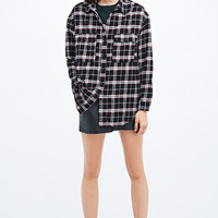 Pins & Needles Curved Hem Flannel Shirt in Black - Urban Outfitters