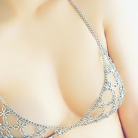 Flower link chain bra Antique silver or gold/ Chain top/Body chain/ Bra top/ Chain bralette