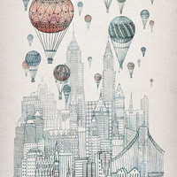 Voyages Over New York Stretched Canvas | Print Shop