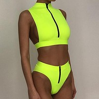 Sexy Neon Bikini Set High Waist Swimsuit Female Zipper Swimwear Women Bathers High Neck Sports Swimwear Bathing Suit