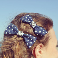 Pair of Anchor Hair Bows with Alligator Clips  by byElizabethSwan