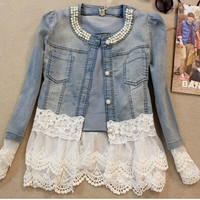 2014  women outerwear slim lace patchwork long-sleeve denim short jacket lady vintage jeans jacket Coat