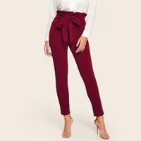 Bow Belted Detail Solid High Waist Pants