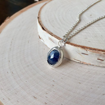 Faceted, Dark Blue Natural Sapphire Pendant in .925 Sterling Silver with Rolo Chain and Tiny Star Stamp, Genuine Sapphire, Gemstone Bezel