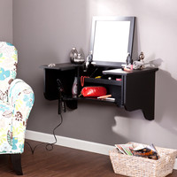 Wall Mount Ledge w/ Vanity Mirror, Black