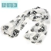 Beady Silk Chiffon Scarf White with Black Skulls