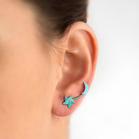 Moon star earring, moon and star jewelry.
