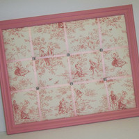 Kensington Garden Toile fabric Rose Pink Framed Memo Board