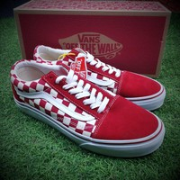 Best Online Sale Vans Old Skool Primary Check Red White Sneakers Training Shoes VN0A38G1P0T