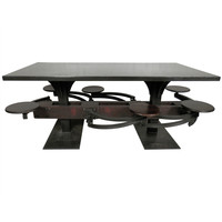 Impressive Industrial Metal Iron Table w/ Six Swing-Out Stools
