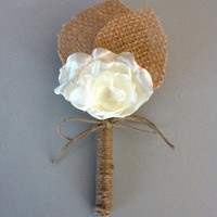 Rustic Boutonniere - Boutineer- Shabby Chic - Rustic Wedding - Burlap and Satin