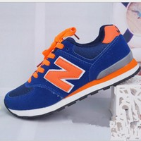 Fashion Online New Balance Abric Is Breathable N Leisure Sports Shoes Women's Shoes Couples Forrest Gump Students Running Blue-orange