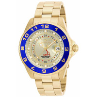 Invicta 17153 Men's Pro Diver Gold Dial Blue Bezel Gold Tone Steel GMT Dive Watch