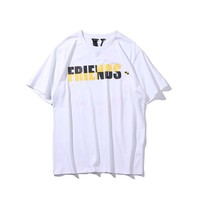 VLONE LIFE 2019 spring and summer men's shirt new European and American youth street personality color matching letter circle short sleeve