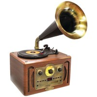 Pyle Home(R) PVNP30BT Retro-Style Bluetooth(R) Turntable Phonograph with Horn, AM-FM Radio & CD Player