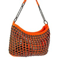 Trendy Studded Purse Fashion Slouch Bag Orange