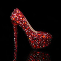 Luxury Heel Red Diamond Shoes with Crystal Shoes Bridal Heels Shoes, Luxury Closed Toes Bridal Heels Wedding Shoes Bridal shoes