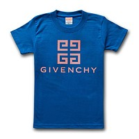Givenchy T-Shirt Simple Round Neck Half Sleeve T-Shirt Blue