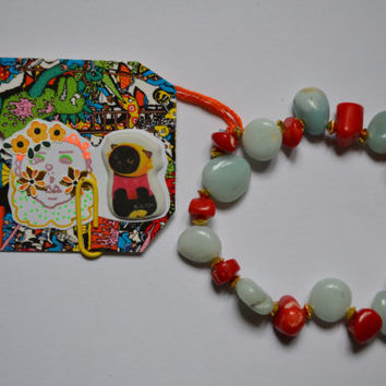 Red Coral and Amazonite elasticated bracelet ||FREE hand-drawn sticker||