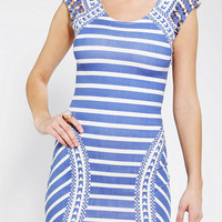 Reverse  Spiked-Shoulder Bodycon Dress