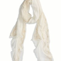 's Embroidered Scarf (Chalk)