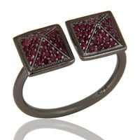 Black Oxidized Sterling Silver Natural Ruby Pyramid Shape Ring Statement Ring