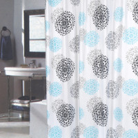 "Spring Bloom Extra Long Floral Fabric Shower Curtain Size: 70"" x 84"""