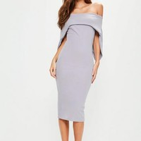 Missguided - Lilac Fold Over Bandeau Midi Dress