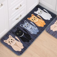 Bathroom Accessories Cartoon Cat Print Mat Carpet